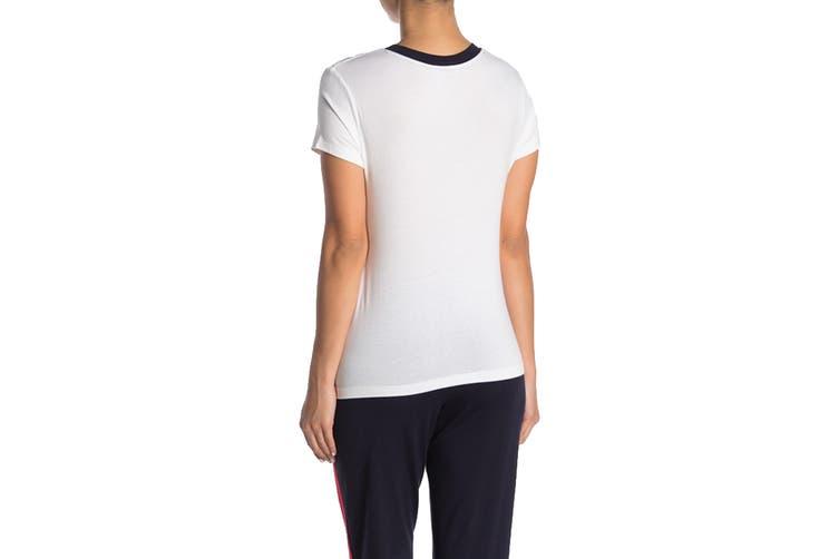 Tommy Hilfiger Women's Global Stripe Trim PJ Tee (Bright White, Size L)