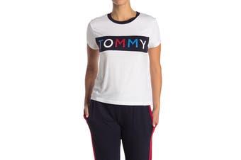 Tommy Hilfiger Women's Global Stripe Trim PJ Tee (Bright White, Size M)