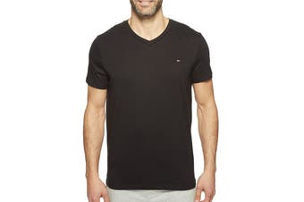 Tommy Hilfiger Men's V-Neck Flag Tee (Black, Size S)