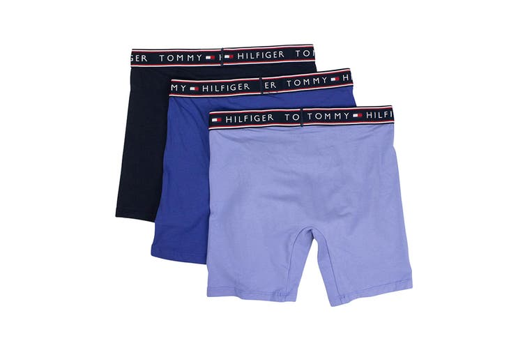 Tommy Hilfiger Men's Cotton Stretch Boxers - 3 Pack (Persian Blue, Size XL)