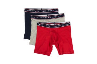 Tommy Hilfiger Men's Cotton Stretch Boxers - 3 Pack (Mahogany, Size XL)