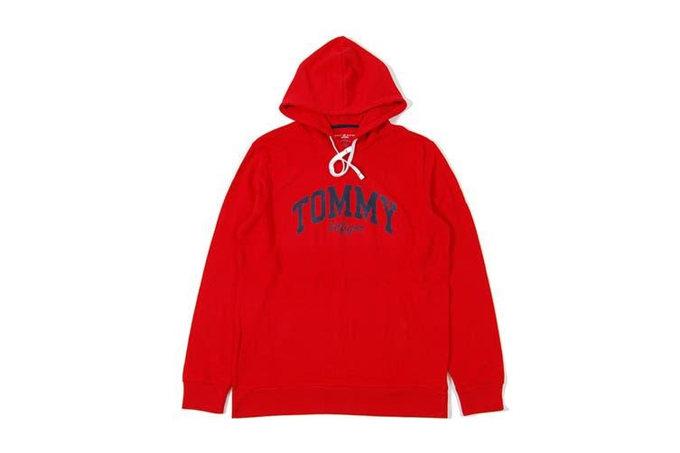 Tommy Hilfiger Men's Brush Back Fleece Hoodie (Mahogany, Size XL)