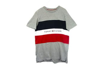 Tommy Hilfiger Men's Modern Essentials Colour Block Script Short Sleeve Crew Tee (Grey Heather)