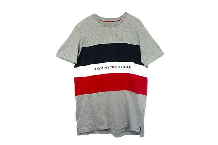 Tommy Hilfiger Men's Modern Essentials Colour Block Script Short Sleeve Crew Tee (Grey Heather, Size M)