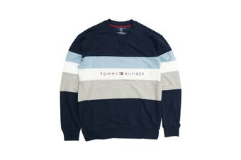 Tommy Hilfiger Men's Modern Essentials Colour Block Script Crew Neck Shirt (Dark Navy)