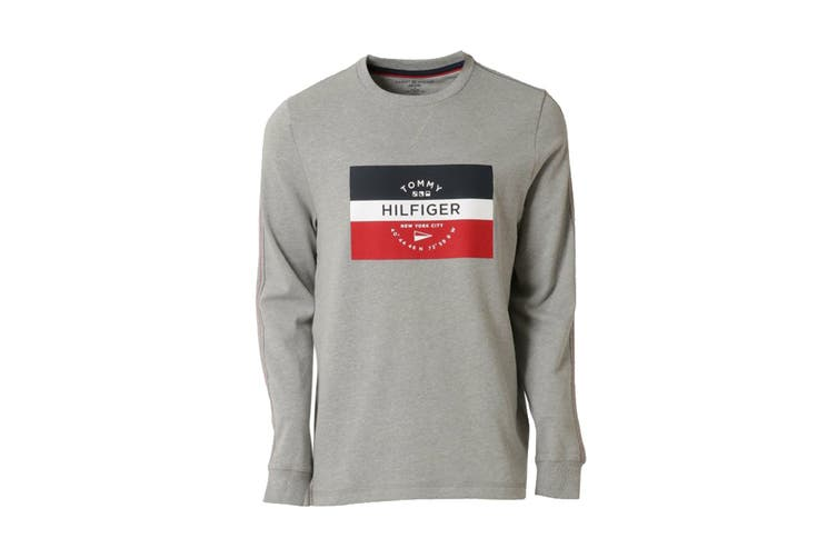 Tommy Hilfiger Men's Op French Terry Long Sleeve Crew (Grey Heather, Size M)