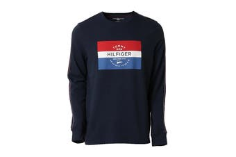 Tommy Hilfiger Men's Op French Terry Long Sleeve Crew (Dark Navy)