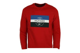 Tommy Hilfiger Men's Op French Terry Long Sleeve Crew (Mahogany)