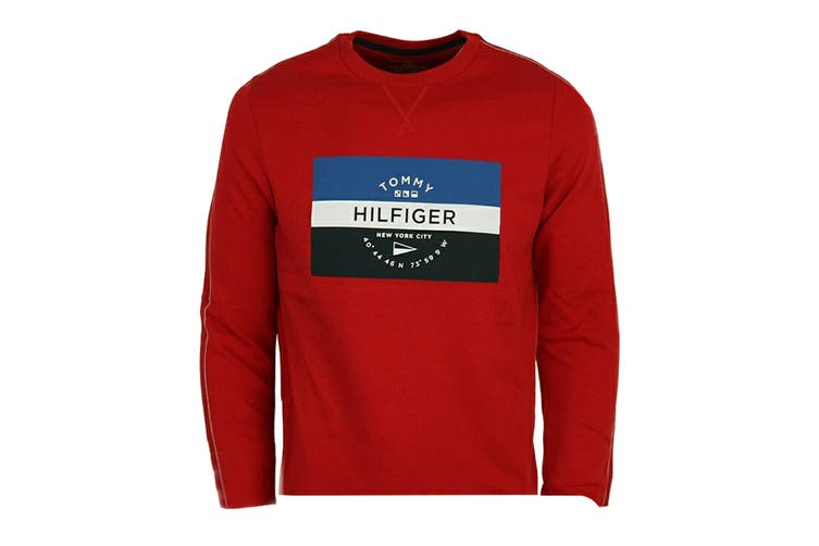 Tommy Hilfiger Men's Op French Terry Long Sleeve Crew (Mahogany, Size L)