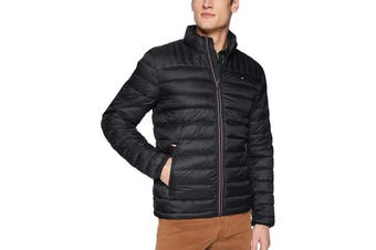 Tommy Hilfiger Men's Ultra Loft Packable Down Jacket (Black, Size L)