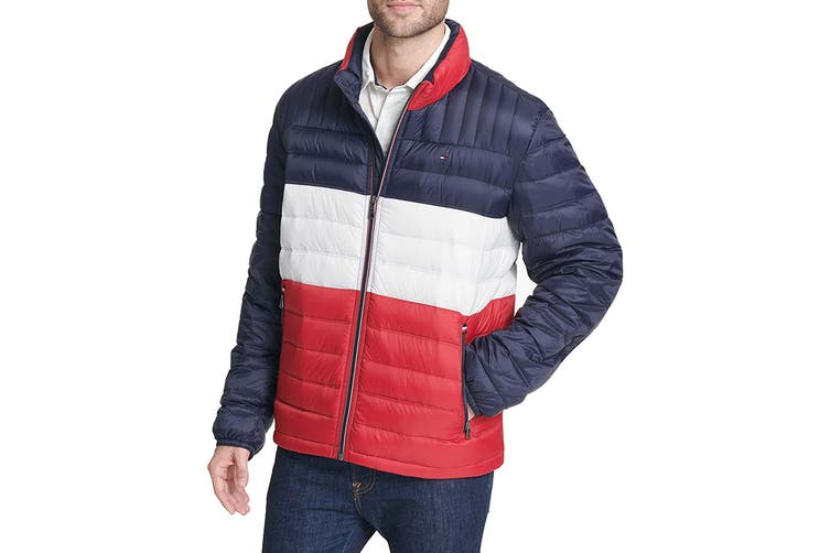 Tommy Hilfiger Men's Ultra Loft Packable Down Jacket (Midnight/White/Red, Size L)