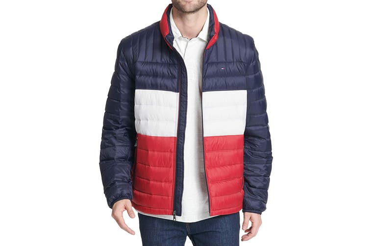 Tommy Hilfiger Men's Ultra Loft Packable Down Jacket (Midnight/White/Red, Size M)