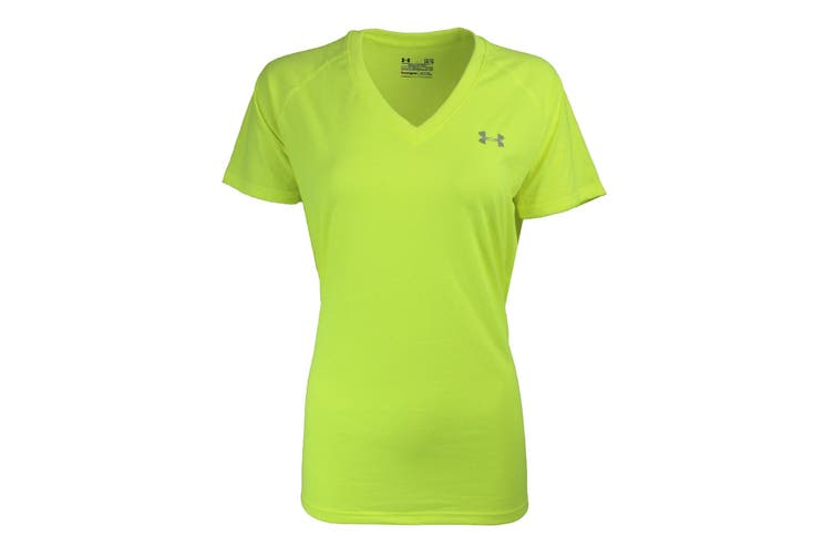 Under Armour Women's UA Tech V-Neck T-Shirt (Neon Yellow/Steel, Size S)