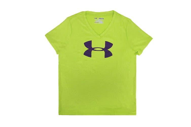 Under Armour Girls' Tech Big Logo V-Neck (Lime Green/Purple, Size L)