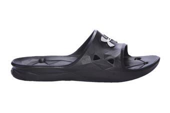 Under Armour Men's Locker III Slide Sandal (Black/Metallic Silver)