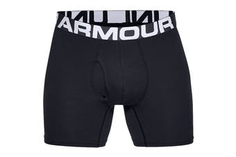 Under Armour Men's Charged Cotton 6 Inch Boxer Jock 3 Pack (Black/Black/Black)