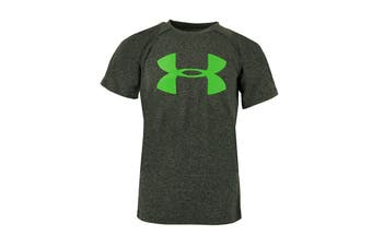 Under Armour Boys' Medium Logo UA T-Shirt (Charcoal Heather/White/Green)