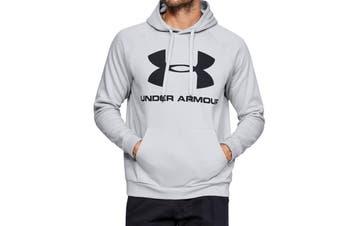 Under Armour Men's Rival Fleece Sportstyle Logo Hoodie (Halo Gray/Black)