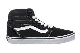 Vans Men's Ward Hi Suede Canvas Shoe (Black/True White, Size 10 US)