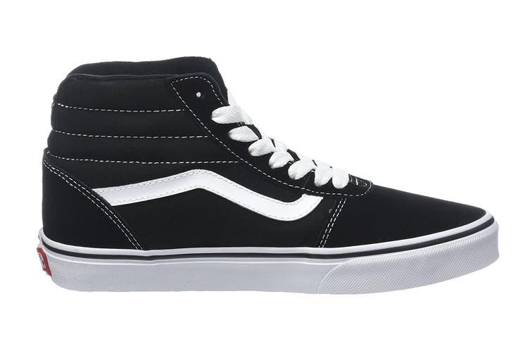 Vans Men's Ward Hi Suede Canvas Shoe (Black/True White, Size 7 US)