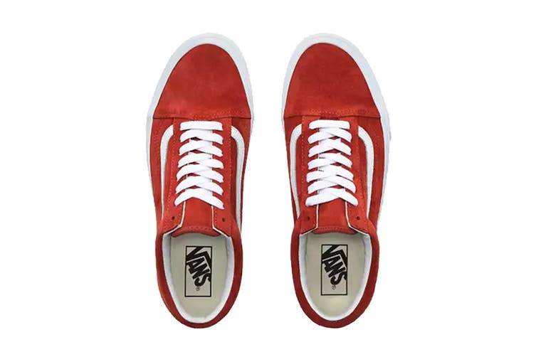 Vans Unisex Old Skool Pig Suede Shoe (Burntbrick/True White, Size 10.5 US)