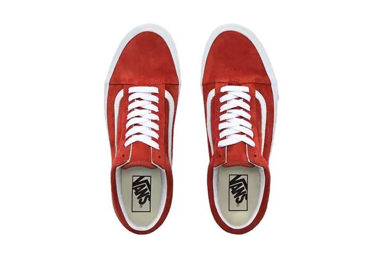 Vans Unisex Old Skool Pig Suede Shoe (Burntbrick/True White, Size 8.5 US)