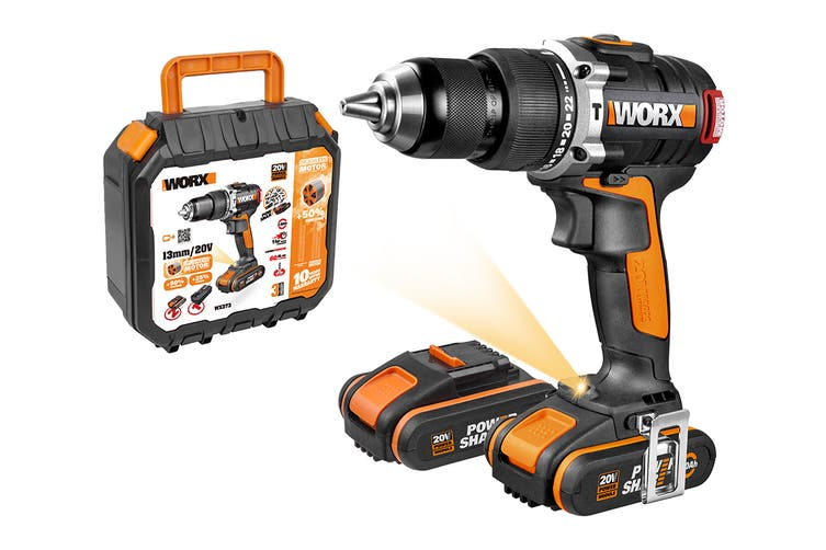 WORX 20V 13mm Brushless Hammer Drill with 2 x MAX Batteries and Carry Case (WX373)