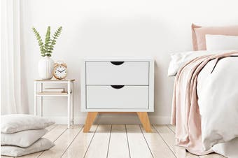 Ovela 2 Drawer Bedside Table - Finse Collection (White)