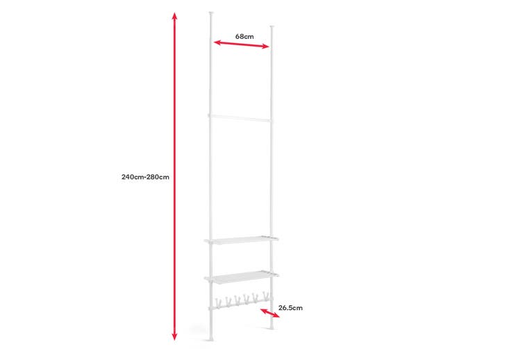 Ovela Adjustable Telescopic Clothes Hanger Shelf & Shoe Holder
