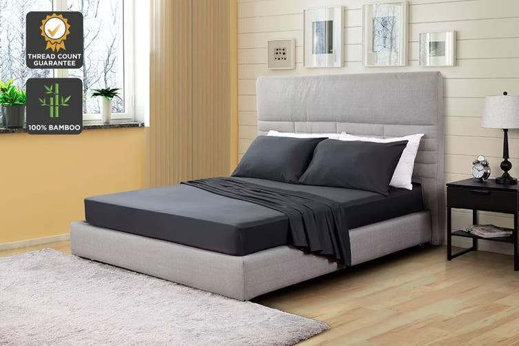 Ovela 100% Bamboo Bed Sheet Set (Queen, Charcoal)