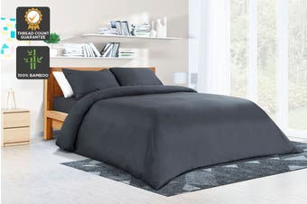 Ovela 100% Bamboo Quilt Cover Set (Queen, Charcoal)