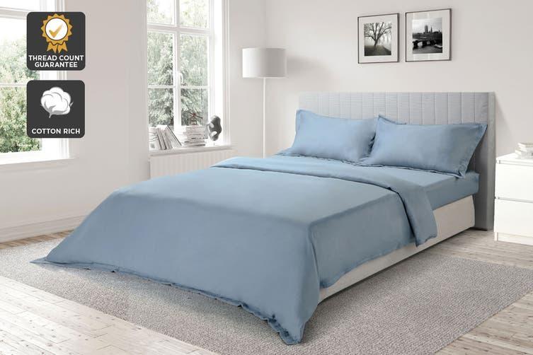 Ovela 1000TC Cotton Rich Luxury Quilt Cover Set (Queen, Slate Blue)