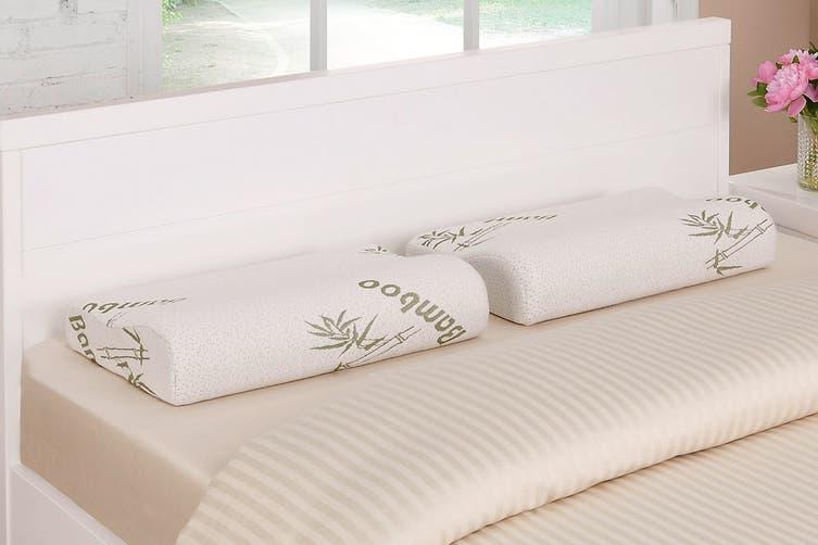 Ovela Set of 2 Bamboo Memory Foam Contoured Pillows