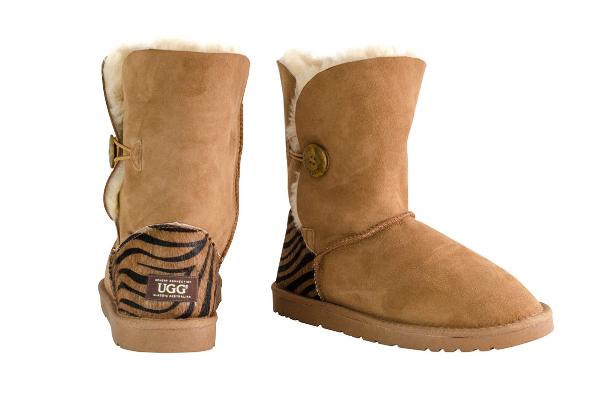 Read More > OZWEAR Connection Tiger Print Button Ugg Boots (Chestnut, Size 6M / 7W US)