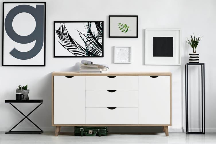 Shangri-La 3 Drawer 2 Door Buffet - Nyhavn Collection (White & Oak)