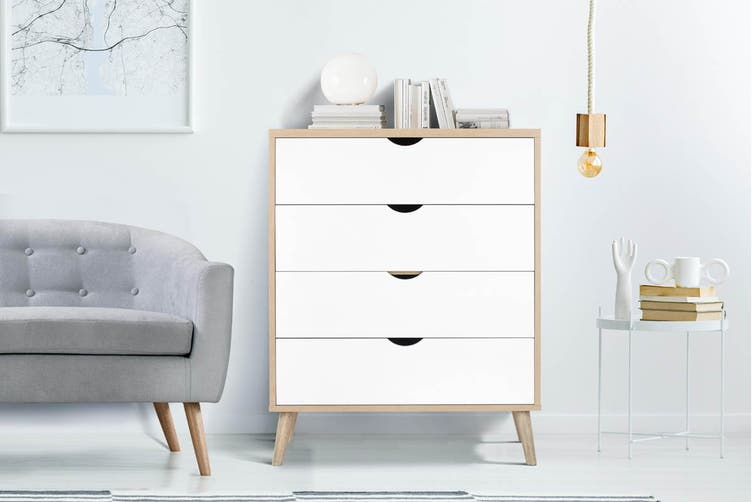 Shangri-La Chest of 4 Drawers - Nyhavn Collection (White & Oak)