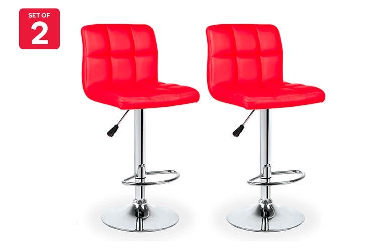 Ovela Set of 2 L Shape Bar Stools (Red)