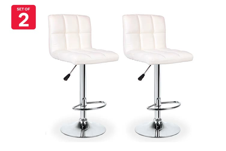 Ovela Set of 2 L Shape Bar Stools (White)