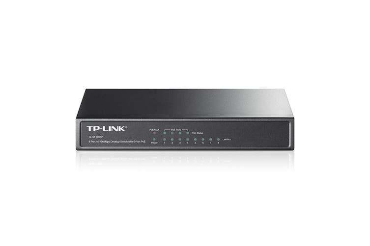 TP-LINK 8-port 10/100M PoE Switch ports including 4 PoE ports (TL-SF1008P)