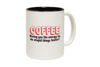 123T Funny Mugs - Coffee Giving You Energy Stupid Things - Black Coffee Cup