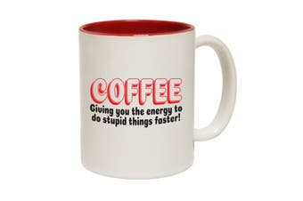 123T Funny Mugs - Coffee Giving You Energy Stupid Things - Red Coffee Cup