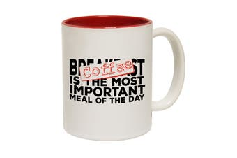 123T Funny Mugs - Coffee Most Important Meal - Red Coffee Cup