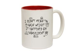 123T Funny Mugs - I Didnt Mean To Gain Weight Snaccident - Red Coffee Cup
