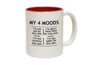 123T Funny Mugs - My 4 Moods - Red Coffee Cup