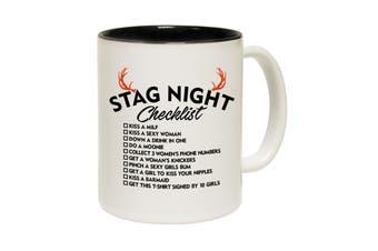 123T Funny Mugs - Stag Night Checklist - Black Coffee Cup