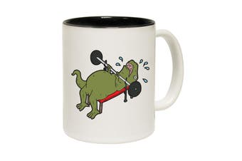 123T Funny Mugs - T Rex Hates Bench Pressing A - Black Coffee Cup