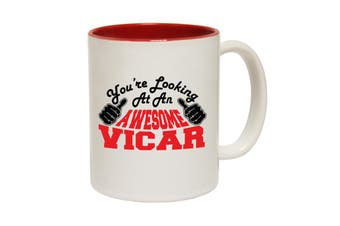 123T Funny Mugs - Vicar Youre Looking Awesome - Red Coffee Cup