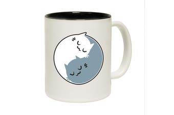 123T Funny Mugs - Ying Yang Cat - Black Coffee Cup