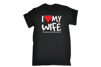 123T Funny Tee - I Love My Wife And Yes She Did Buy Me This Mens T-Shirt