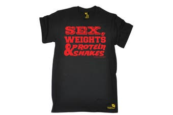 SWPS Gym Bodybuilding Tee - D1 Red - (Small Black Mens T Shirt)